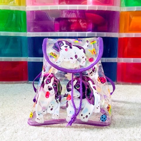 Vintage Lisa Frank Dog Mini Vinyl Backpack Featuring Casey