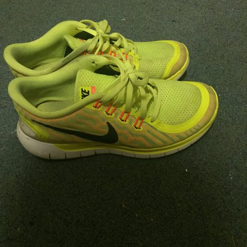 dcfc65486ddd Nike free 5.0 bright yellow trainers. Very comfortable. Size - Depop
