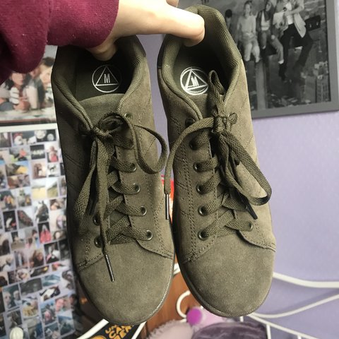 ad5d7013cf5 Missguided khaki faux suede trainers Runners shoes flats - - Depop
