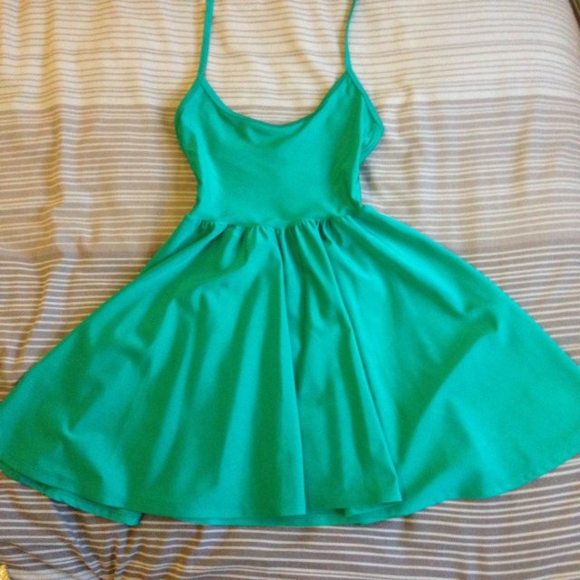 2a422dc985 American apparel nylon skater dress green. Great fit