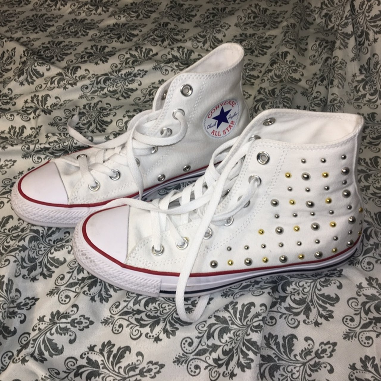 White high top converse! Only worn a couple of times! Gold - Depop 82ac8405a