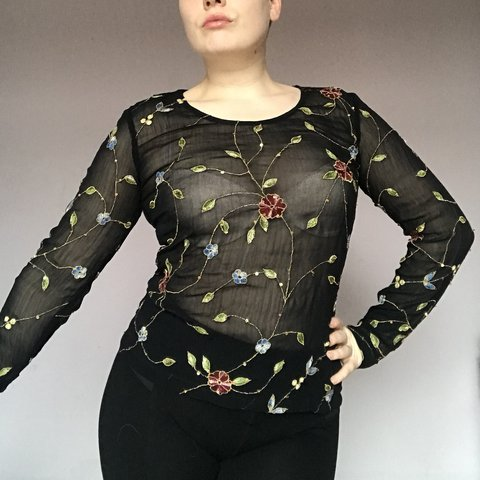 0e69ddfc @honeysuckle_stjames. last year. Cardiff, United Kingdom. Black vintage mesh  sheer floral embroidery long sleeve top size small. Beautiful top very 90's  ...