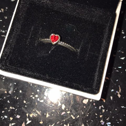2126e977e @j3ssicaberrell. 2 years ago. Greater Manchester, United Kingdom. Red  Stackable heart ring Pandora ring, size ...