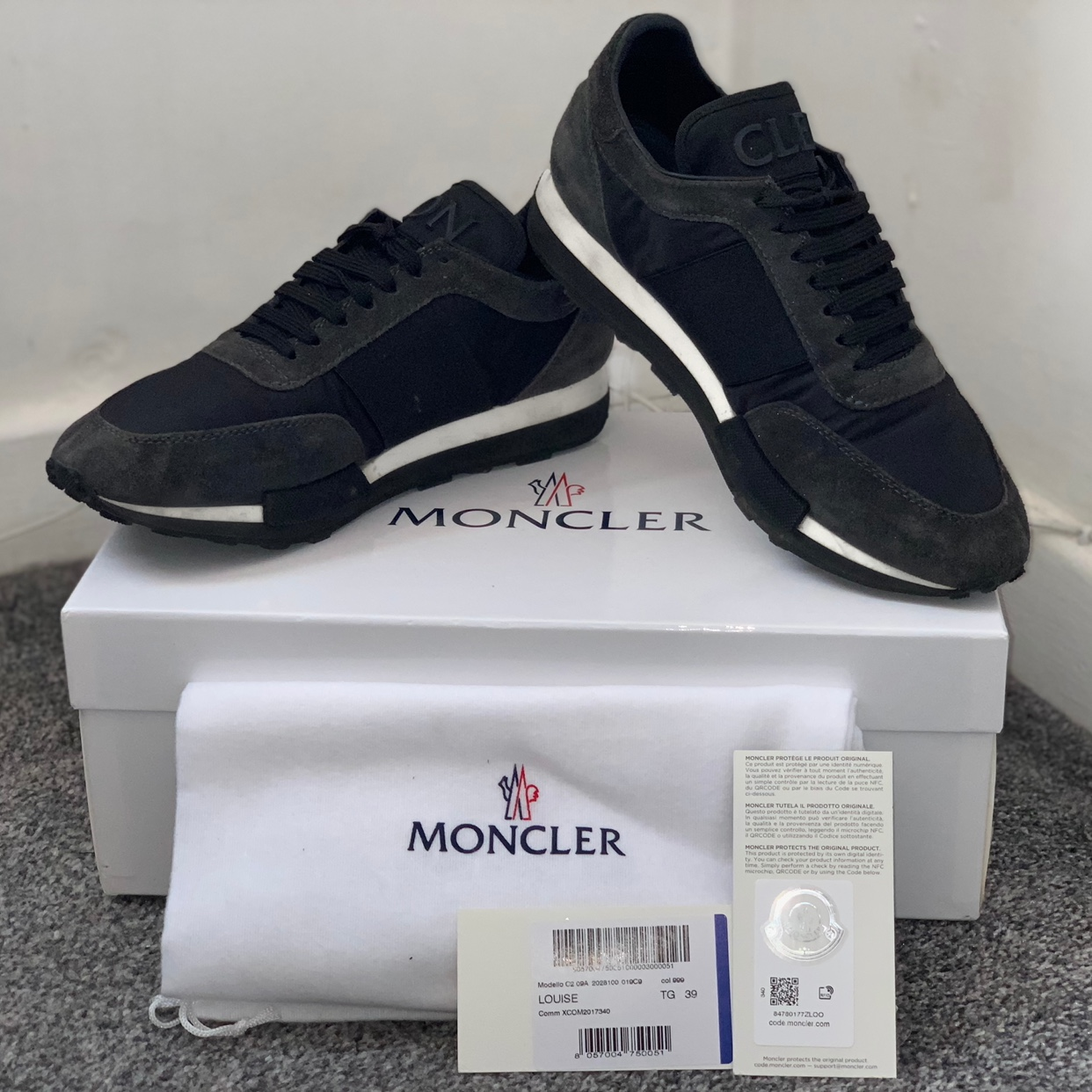 Moncler Louise Shine Trainers Size 6(39