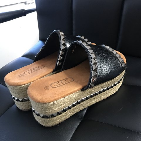 7a308533c Black studded faux leather espadrilles. Brand new, never as - Depop