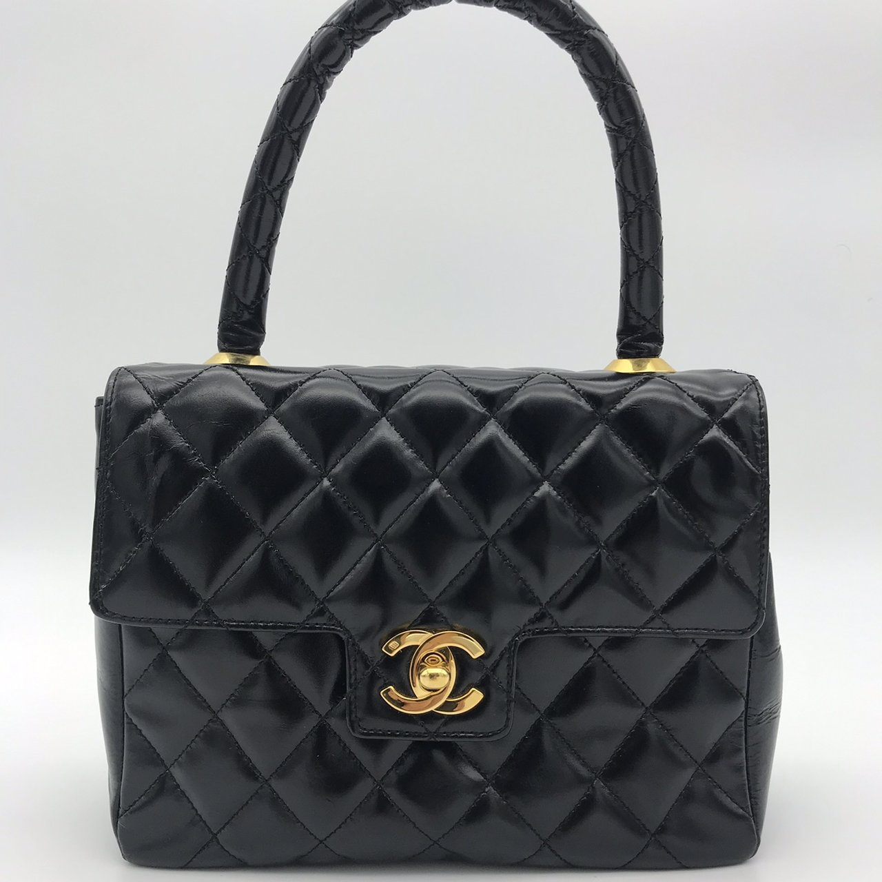 1994 Rare Chanel Mini Quilted Patent Leather Top Handle. is - Depop 5e08f9d01