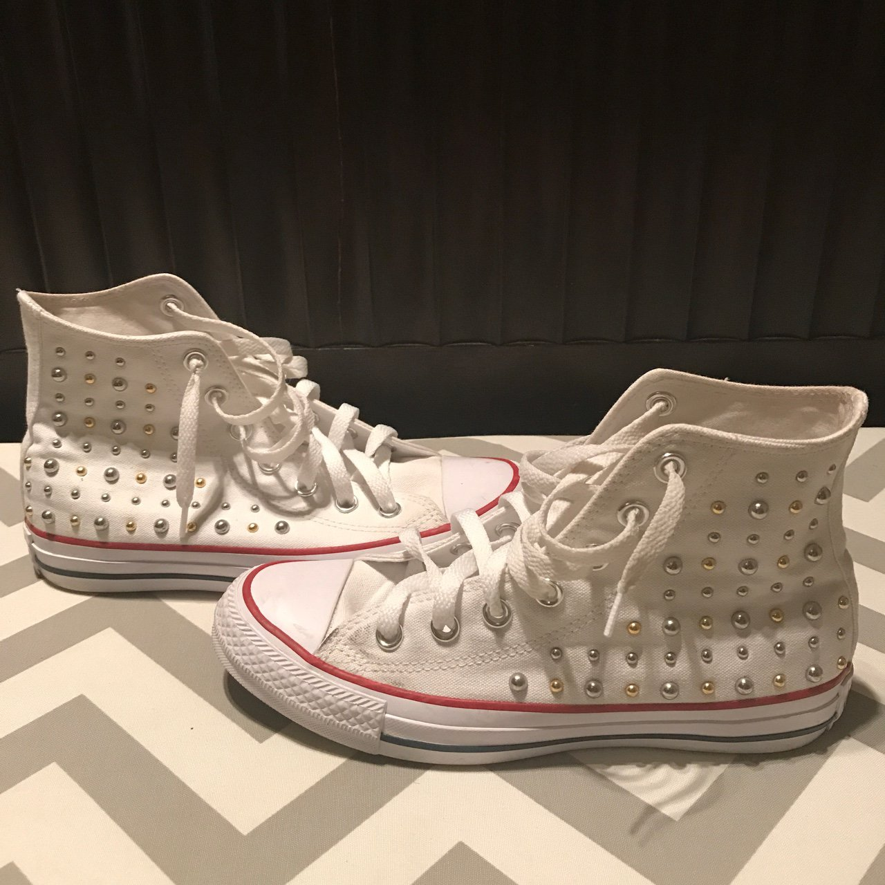 Converse allstars with bling!!!White   red high-top Converse - Depop 38d031d57