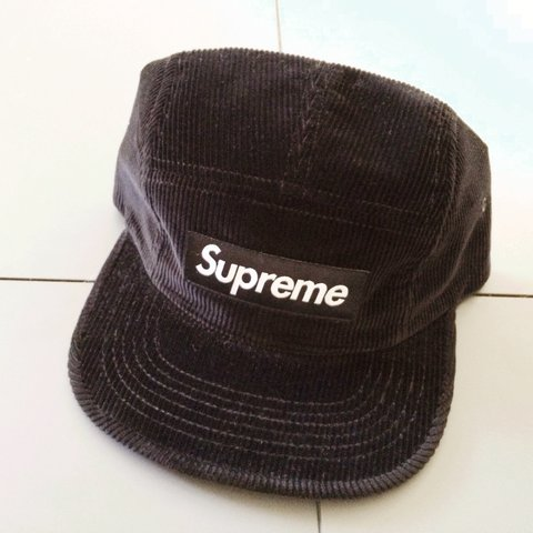 caf04fc3a99 Supreme Corduroy Camp Cap Black with red box logo. Leather - Depop