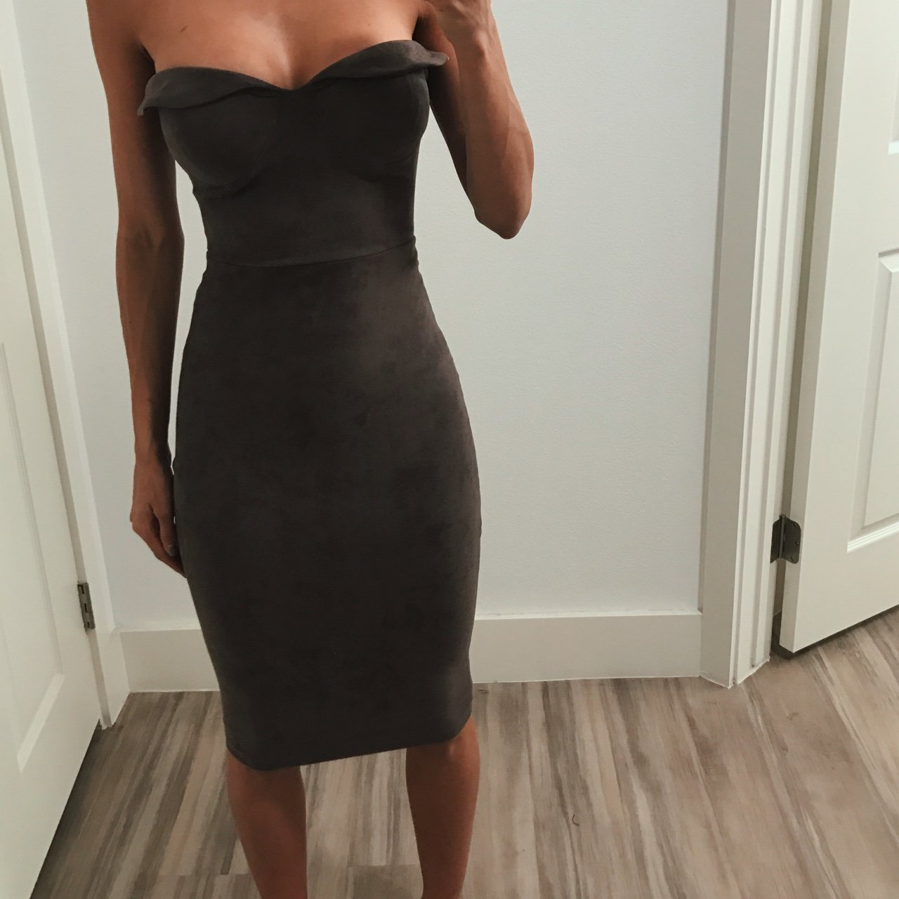 ffc52c2819 houseofcb taupe strapless dress worn once! Love the faux - Depop