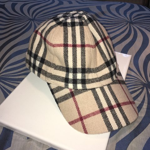 87211e83aeb Vintage Burberry Cap dad hat. Exterior is a wool and mix