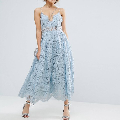 76783bd164d Asos lace cami midi prom dress size 14 but fits a 12. Worn a - Depop