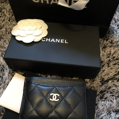 4ba16904e6abe Chanel card holder Black grained caviar leather with gold - Depop