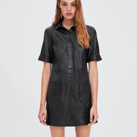 3e66946f640 Zara leather shirt dress with pocket detail. Worn only once - Depop