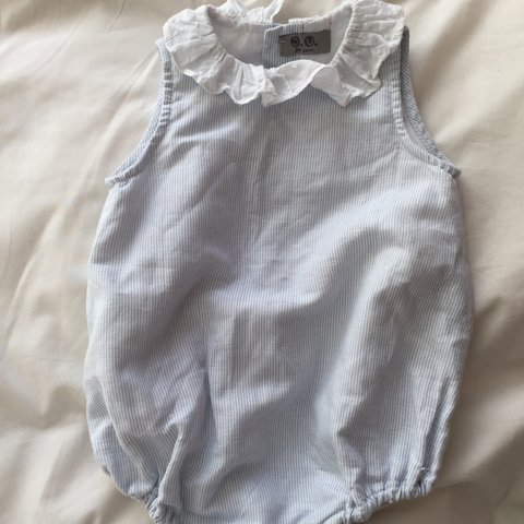 9696be635 @hollyryan93. 2 years ago. Croydon, United Kingdom. Baby romper unisex size  12 months stripes white and blue worn once ...