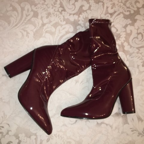 93c497a52bc @ayse_turker. 4 days ago. Leeds, United Kingdom. Burgundy patent sock boots.  Brand new never worn ...
