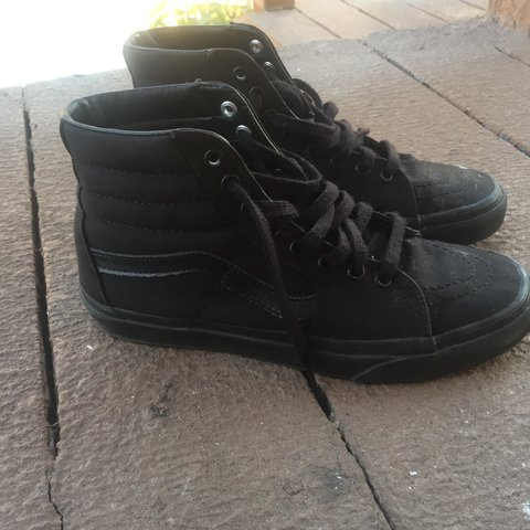 c37d8e7241 Vans Canvas Sk8-Hi All black high top Vans! Women s size 9 - Depop