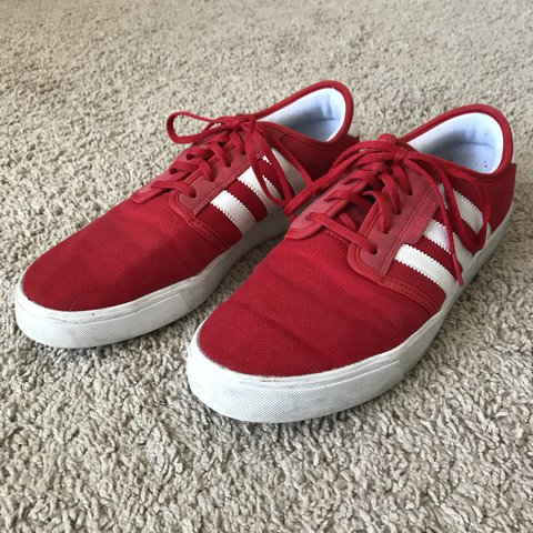 60452be87c182 Red and white Adidas sneakers in men s size 10. These are up - Depop