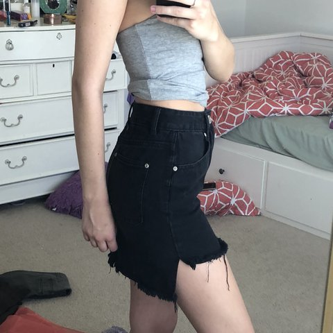 441b6b902c @tayalxndr. last year. Tampa, United States. Super cool high-low black  denim skirt!! So good for going ...