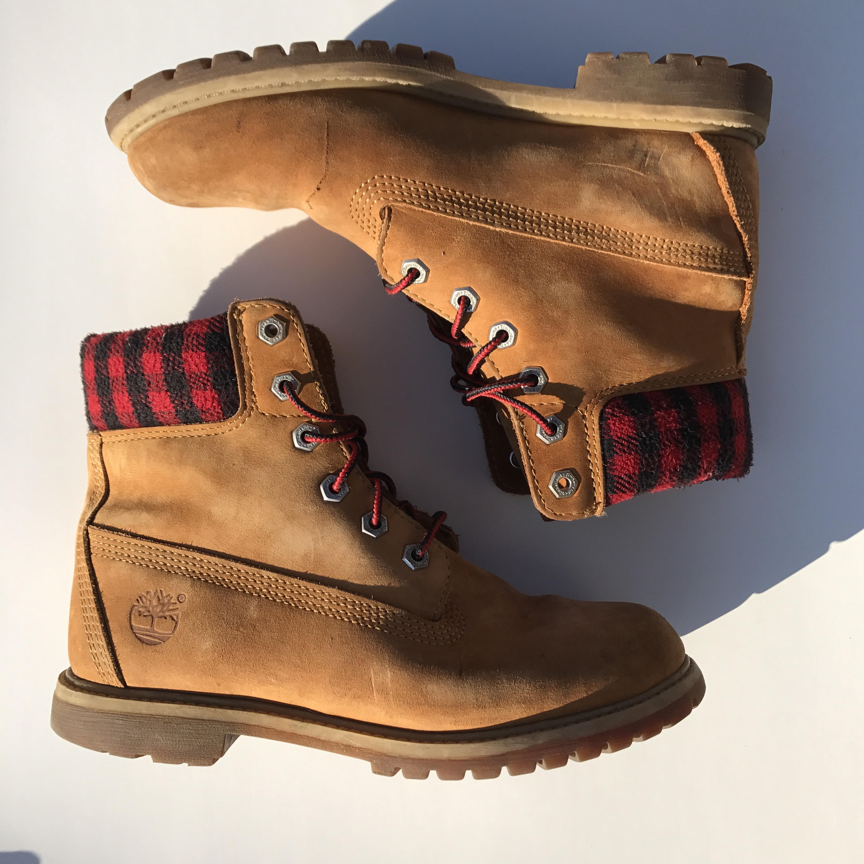 authentic wheat timberlands with red plaid detailing Depop