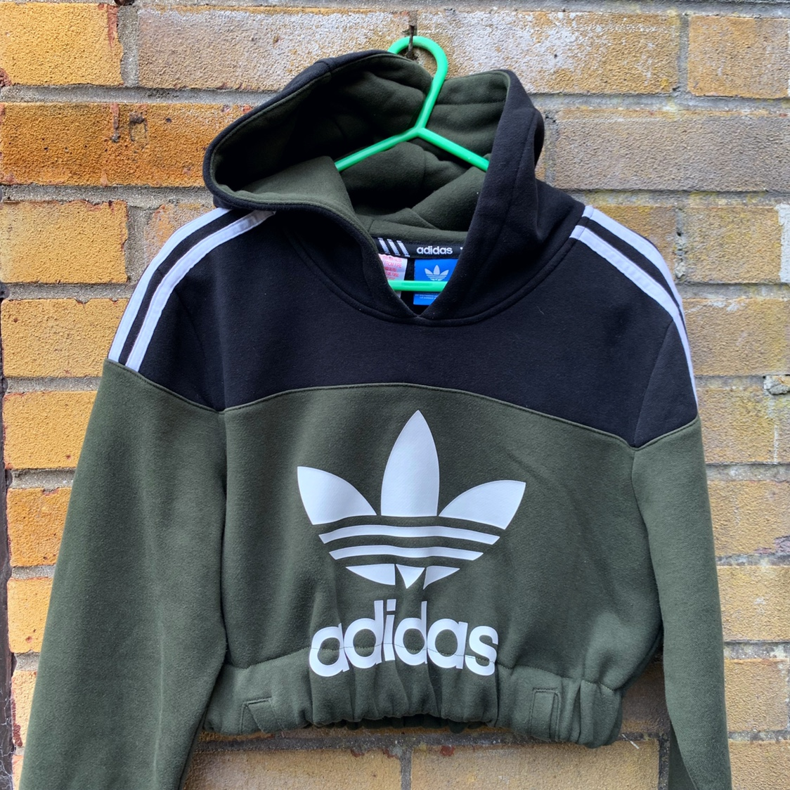 Vintage reworked Y2K olive green Adidas logo hooded