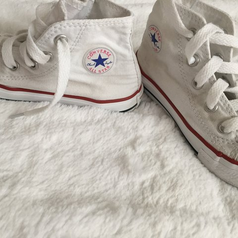 7e692c03fd4 8 White converse size 8. Second class signed for small   to - Depop
