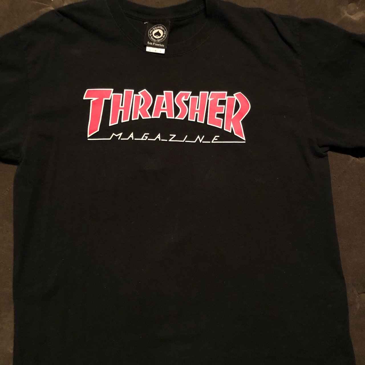 a1694a844 Thrasher black tee. Red and white lettering. Only worn  vans - Depop