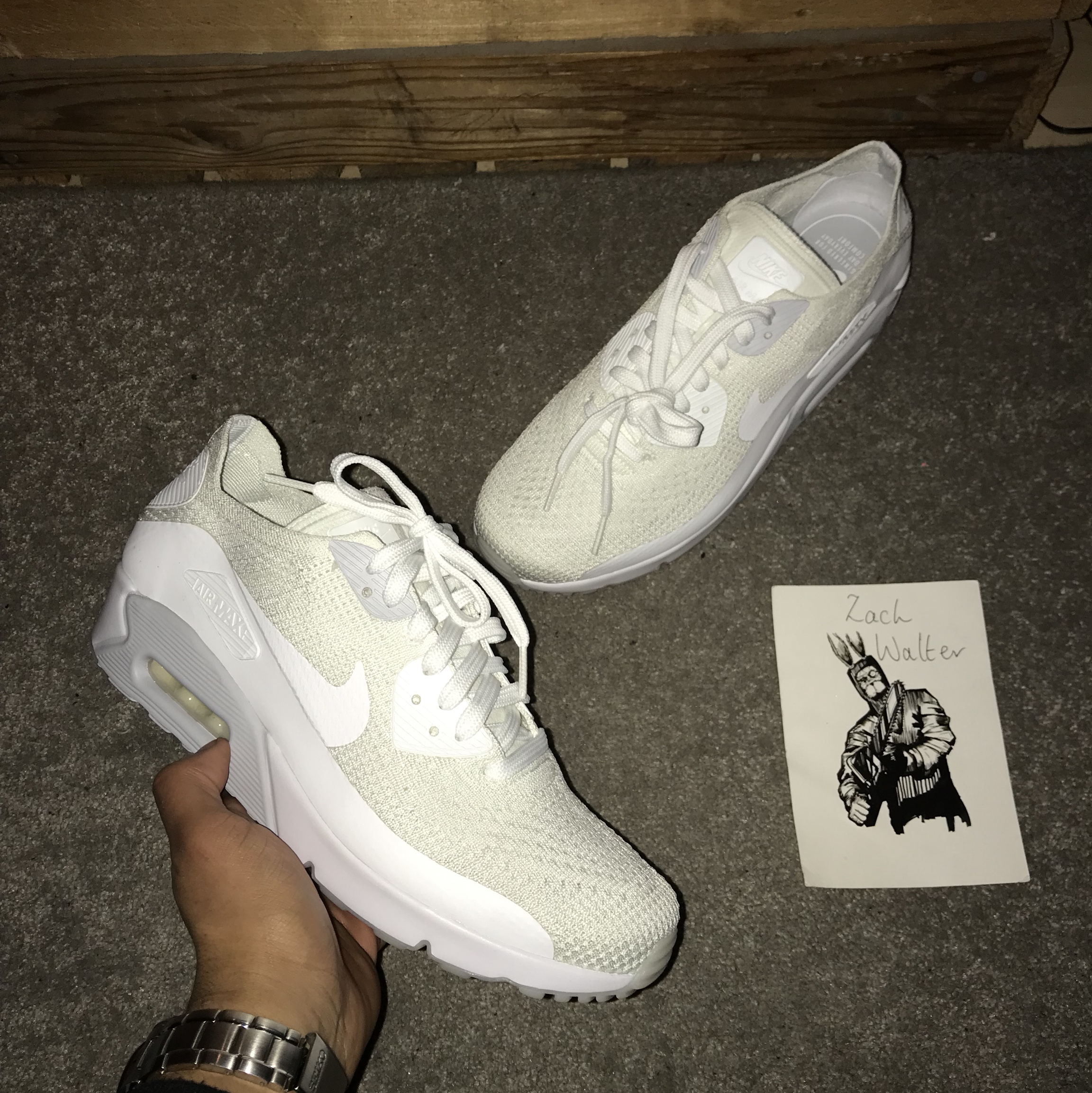 detailed pictures 8d0ca 18c8f SOLD!!! Nike air max 90 ultra flyknit triple white... - Depop