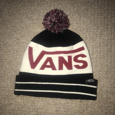 3371272b Vans bobble hat / beanie . Can be worn either way! Only been - Depop