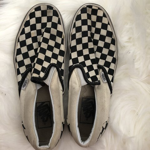 93d0f819b742 barely worn checkered vans. wash them and they ll be brand - Depop