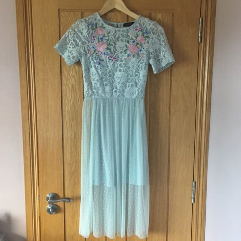aa7bc70fb5 Selling my graduation dress 👗 pale blue dress with lace - - - Depop