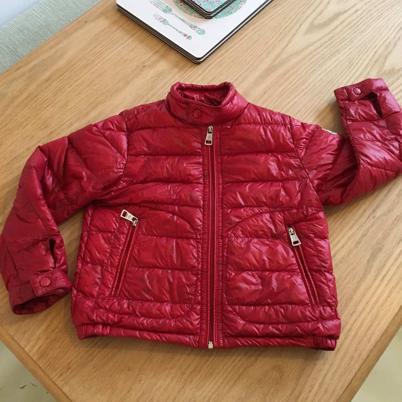 559f60cd1 100% genuine kids moncler light weight down feather red age - Depop