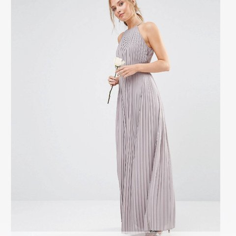 da4cfbb1be1 ASOS TFNC High neck pleated maxi dress in opal grey I a one - Depop
