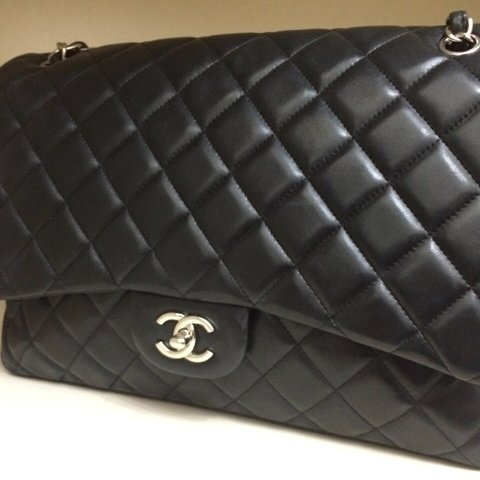 903abd836ab5 Chanel lambskin maxi, single flap bag, black leather with in - Depop