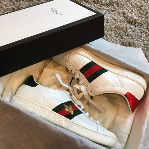 66c80a0eddd8 AUTHENTIC GUCCI ACE SNEAKERS. SIZE 37. GENTLY USED IN GOOD - Depop