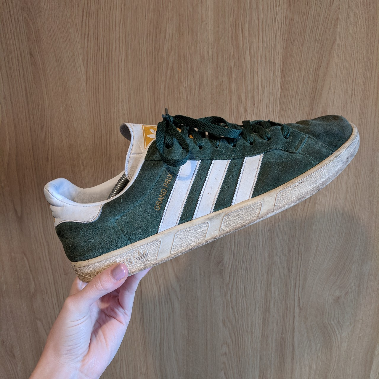 Green suede Adidas grand Prix trainers., Size 11
