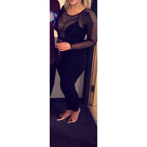 Misguided Jumpsuit With Meshnet Top Size Kimk Black Depop