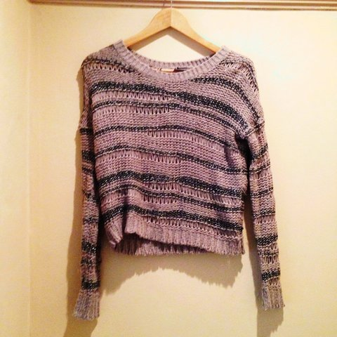 e03107546 Wide knit jumper mushroom colour with grey sparkly wool and - Depop