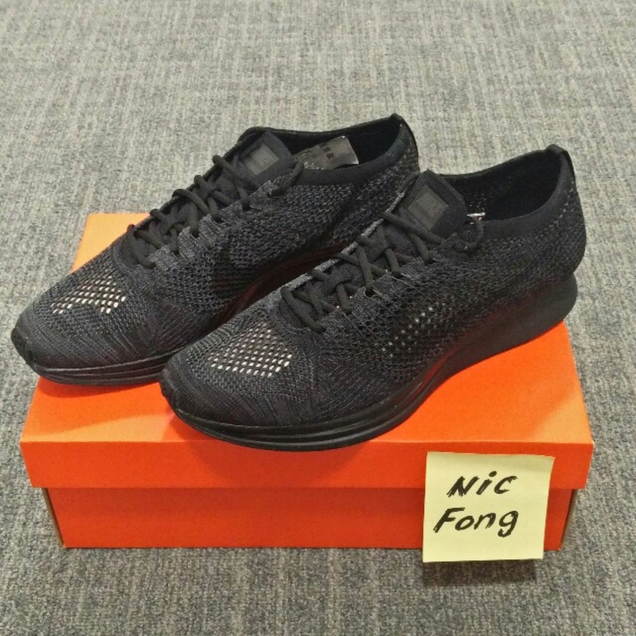 8588c2626de6c2 Nike Flyknit Racer Triple Black Midnight UK10.5 Size      - Depop