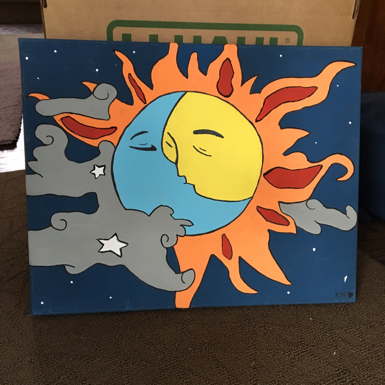 Sun And Moon Painting Made By Myself 14x18 Acrylic Depop