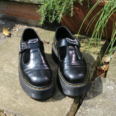 dc5a99066b8 Black Platform T Bar Dolly Leather Bethan Dr Martens Shoes - Depop