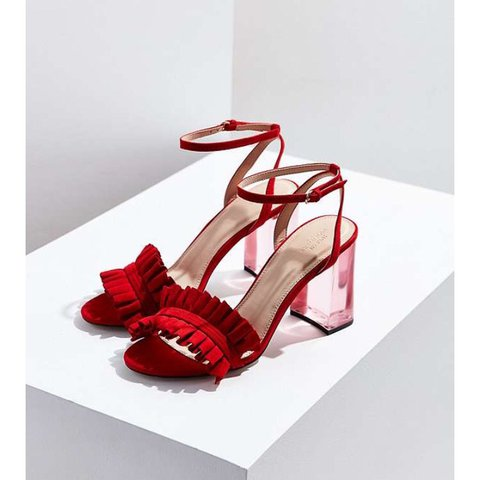 Red heels from urban outfitters with Perspex heel and frill - Depop