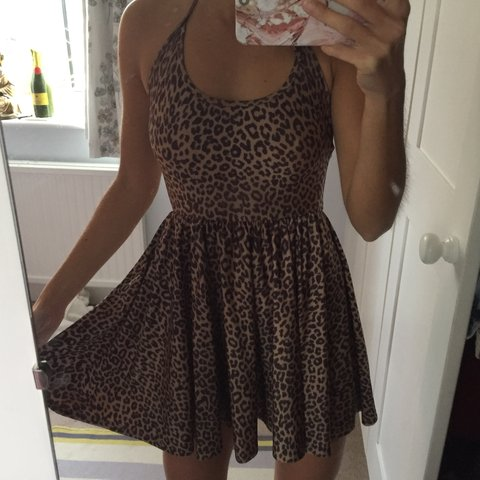 0b0536149e Leopard print American Apparel halter-neck skater dress. so - Depop