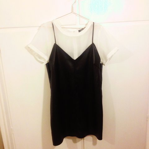 43aaa0ca3ad32 Two in one faux leather black dress. 90's cami style. Worn ( - Depop