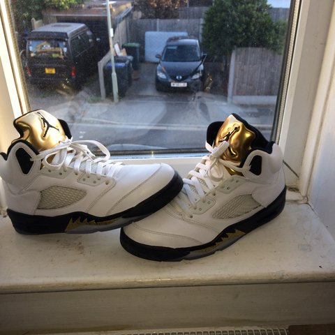 95cda6ebc9e886 Mens Air Jordan 5  Olympic Gold    Metallic Gold  Size -UK - - Depop