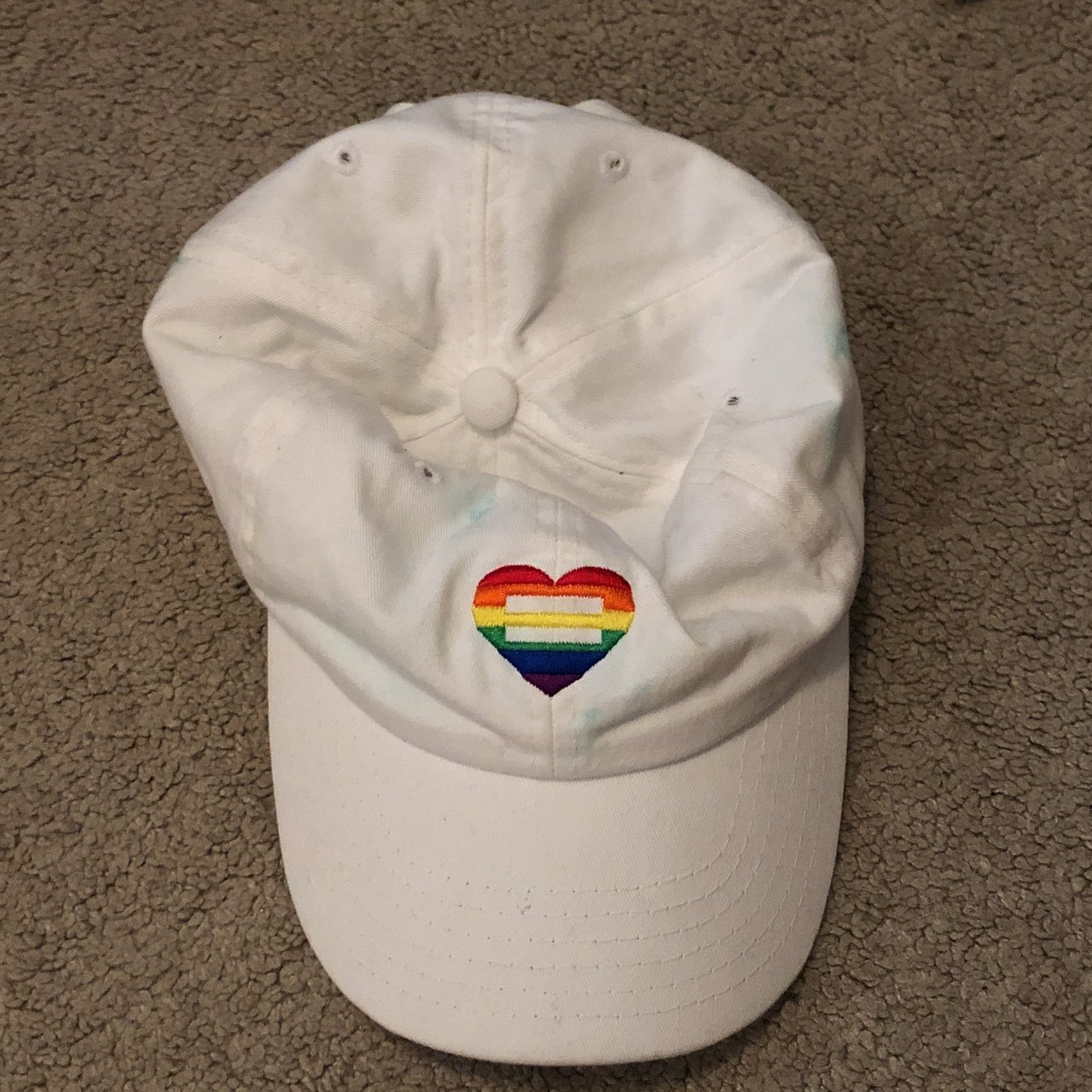 c4c01f4804bea Equality LGBT 🏳 🌈 dad hat. Has quite a lot of stains from - Depop