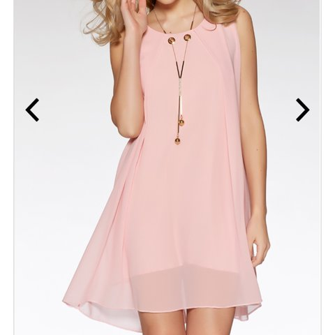 60d2322811a @charliexjenkins. last year. Shortstown, United Kingdom. Quiz Pink Chiffon  Sleeveless Necklace Tunic Dress