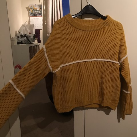 5663e89e7f7 Vila yellow mustard knitted jumper with white stripe. RRP or - Depop