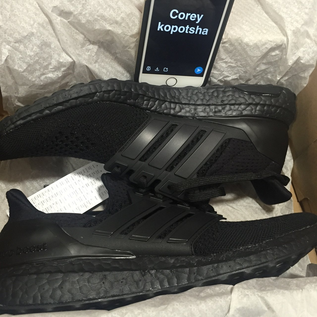 e724b030b Adidas Ultra Boost Triple Black. With tags. Never worn. Size - Depop