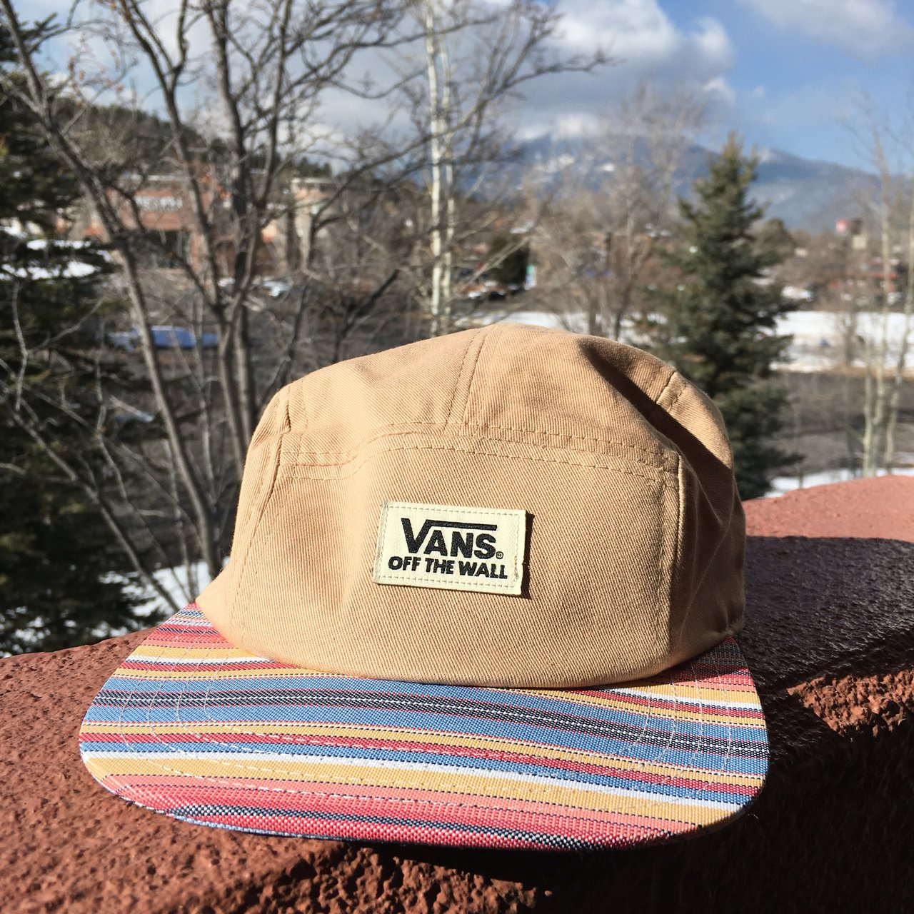80a98f23705 Vans Off The Wall  5 Panel Tribal Print and Tan Hat !  vans - Depop