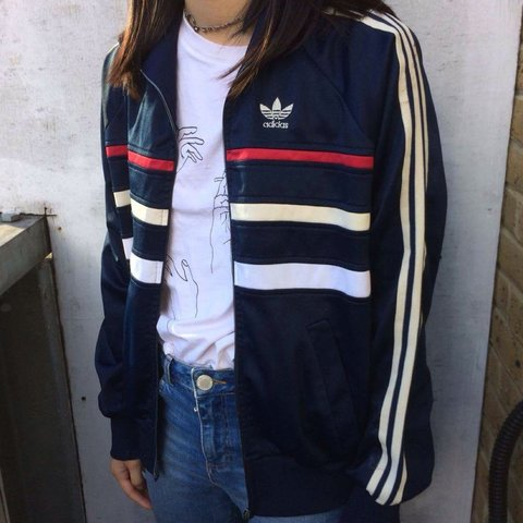 f6510bb9d1bf Vintage adidas track jacket. Retro red white and blue very A - Depop